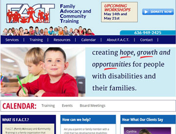 Family Advocacy and Community Training website by Spencer Web Design