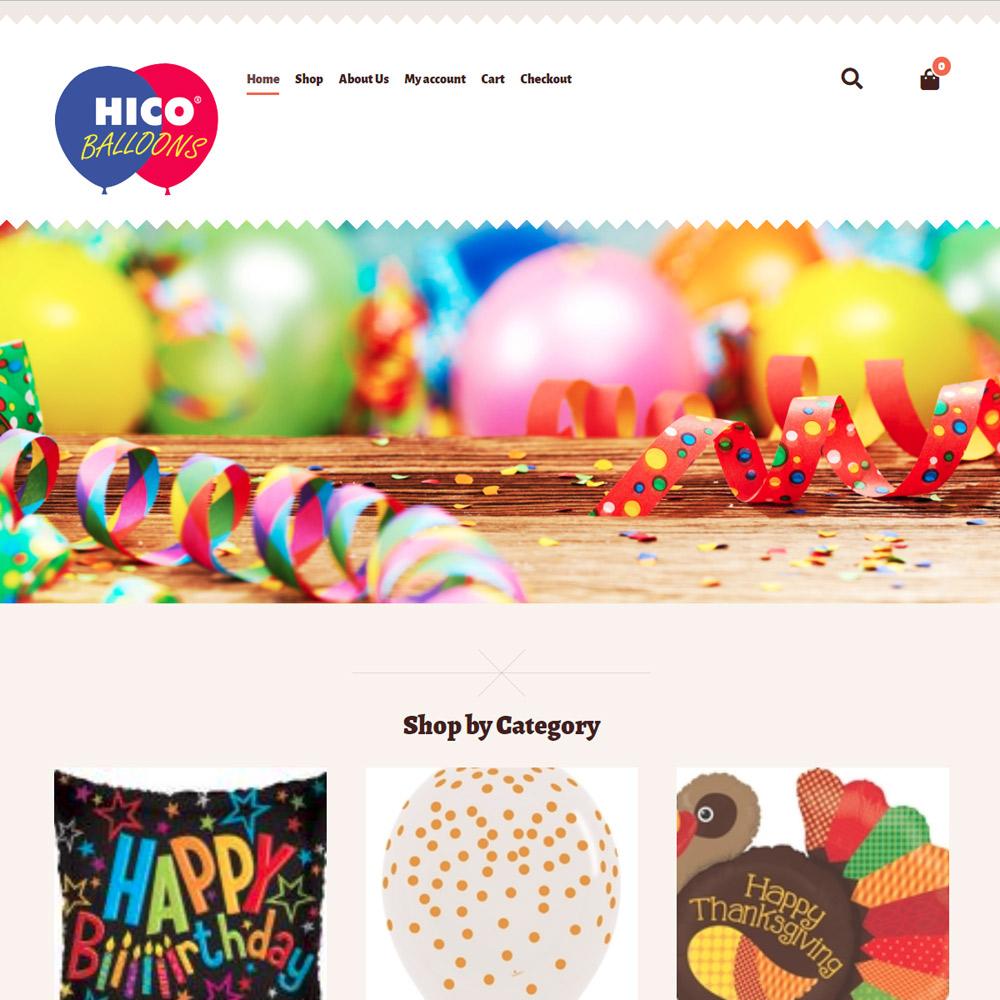 Hico Balloons ecommerce site
